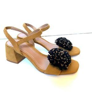 Zara 7.5 Tan Black Pom Pom Platform Heels Sling 2'